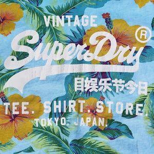 Superdry Shirts - Mens Superdry Orange Blue Floral T Shirt Large